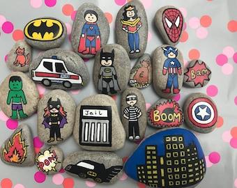 Superhero Story Stones for imaginative role play