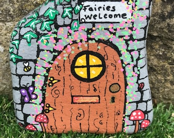 Handpainted garden fairy door stone