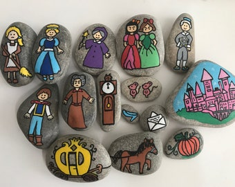 Cinderella story stones - set of 15 handpainted rocks
