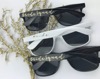 Bride Squad - Beach Sunglasses - Bachelorette Party Sunglasses - Bridesmaid Sunglasses - Black Sunglasses -  Gold Sunglasses - Metallic