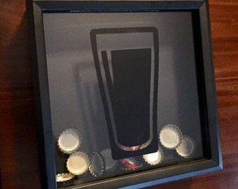 Beer Bottle Cap Shadow Box - Gift for Beer Lover - Beer Art - Home Decor - Gifts for Him - Graduation Gift - Fathers Day Gift - Beer Box