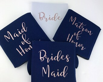 Bride Can Sleeve - Custom Drink Sleeve - Custom Wedding Favor -  Bachelorette Party -Rose Gold- Bachelorette Party - Bridesmaid Favors