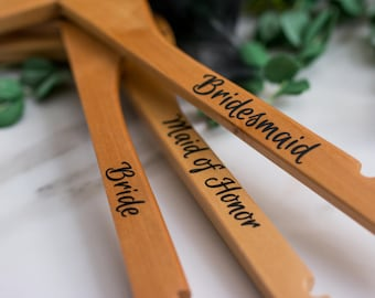 Custom Hangers - Personalized Hangers - Wooden Hangers - Bridal Hanger - Wedding Dress Hanger - Bridesmaid Hanger - Bridal Party Gift - Set6