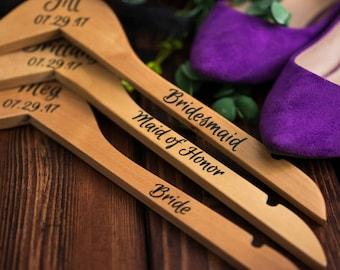 Custom Hangers - Personalized Hangers - Wooden Hangers - Bridal Hanger - Wedding Dress Hanger - Bridesmaid Hanger - Bridal Party Gift - Set5