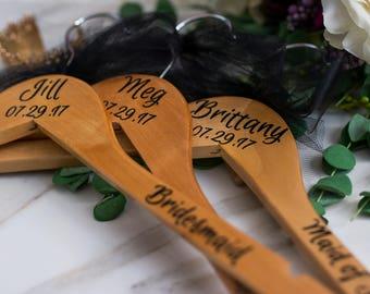 Custom Hangers - Personalized Hangers - Wooden Hangers - Bridal Hanger - Wedding Dress Hanger - Bridesmaid Hanger - Bridal Party Gift - Set7