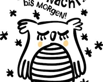 "Plotter file ""Good night, owl Marlene"", SVG, DXF"