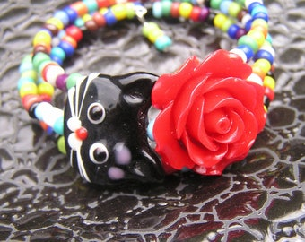 Black Cat Bracelet Red Rose 3 loops Multi color glass wrap around memory wire cuff boho