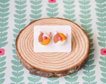 Handmade Polymer Clay Earrings: Crazy Cat Lady in Calico