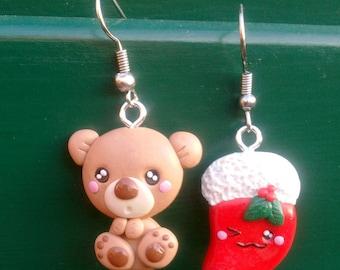 Teddy Bear and Christmas Stocking - Handmade in Polymer Clay