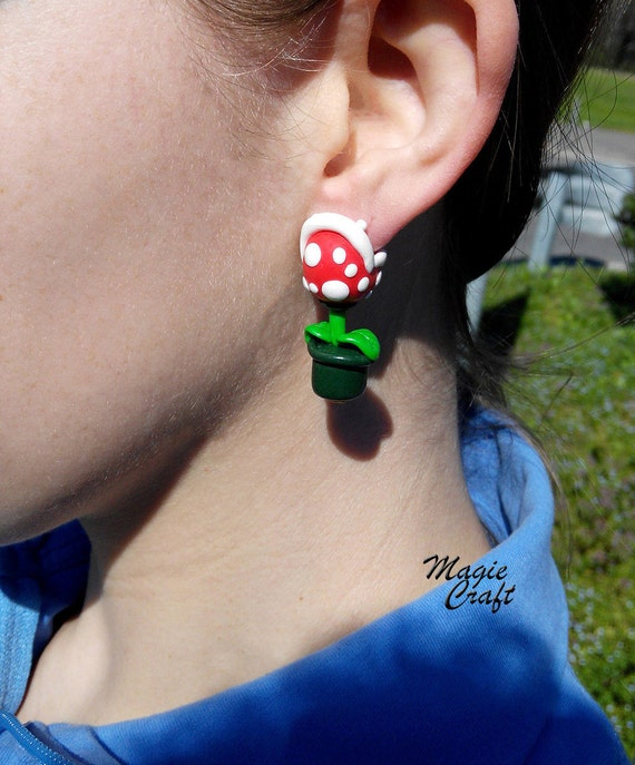 Super Mario her fleischfressende Pflanze Ohrringe-Fimo