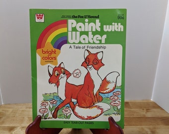 Two fabulous, unused Whitman books, Paint with Water: A Tale of Friendship, Disney's Fox and the Hound, & Simple Objects, a coloring book.