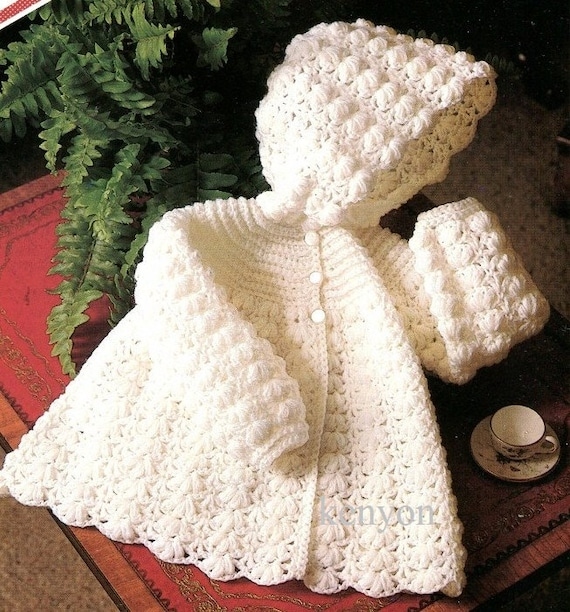24 Months PDF Download SKU 39-15 Vintage Crochet Pattern Baby or Toddler Coat with Hood Loop Edging Embroidery and Front Zip Size 12 18