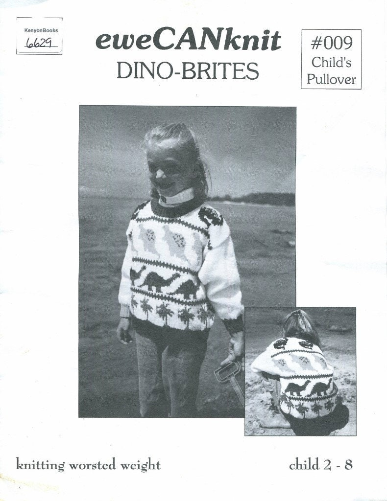 Tejer 4 tamaños dinosaurio suéter patrón - lana peso Jersey Girls ...