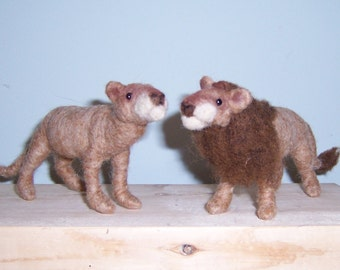 Needle Felted Lions