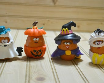 Vintage McDonalds Halloween McNuggets Happy Meal 1990s Toy Buddies Holiday Decor Collectible Mummy Witch Collectible