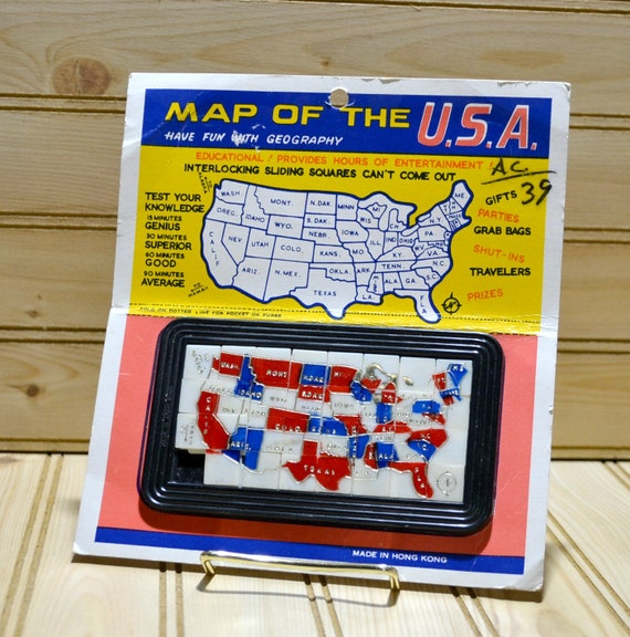 Vintage Map Of The Usa Interlocking Sliding Squares Puzzle Etsy