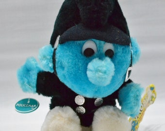 Policeman Smurf Plush Doll - Character Collection - Stuffed - Toy - Vintage - 1983