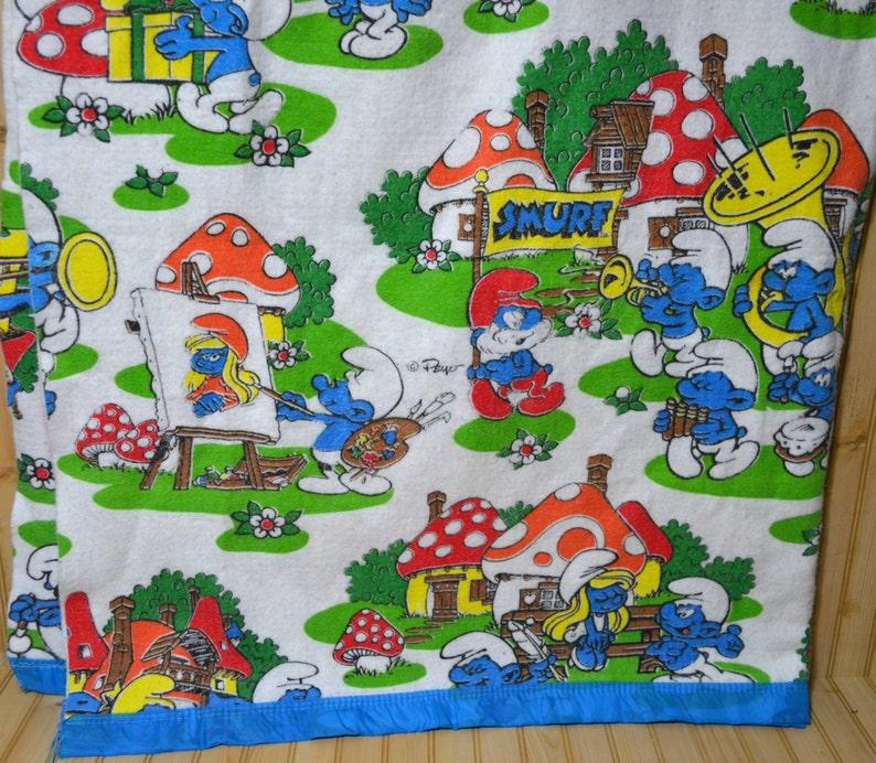 532e8bfda2fb2 Vintage Schtroumpf couverture polyester acrylique lits jumeaux