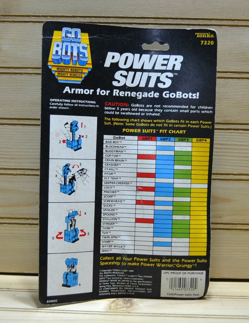 Vintage Go Bots Power Suits Armor for Renegade Go Bots 7320 Black 1985 Japan NIP Collectible 1980s Toy Action Hero Figure Listing for 1