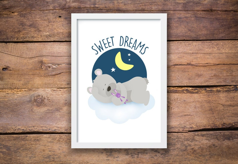 Sweet Dreams Nursery Wall Art Nursery Prints Teddy Bear image 0
