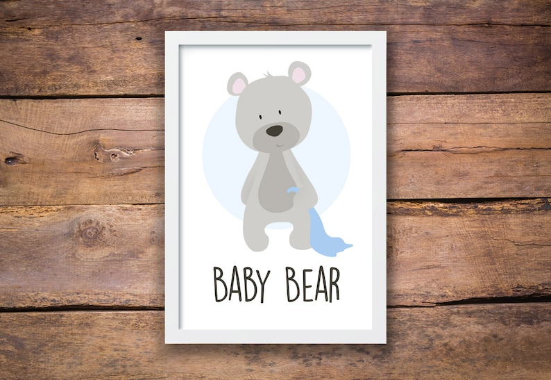 Baby Bear with a Blue Blankie Nursery Wall Art Nursery image 0
