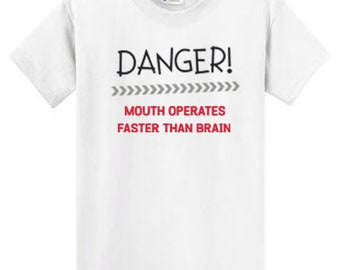 b43e23da7 Mouth Opeates Faster Than Brain Funny Tees Men's Regular and Big and Tall  100% cotton short sleeve Port & Company Tees 7 Colors