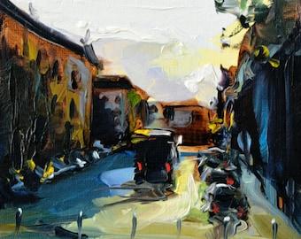"Original by Yuri Frey ""Street"" oil on canvas. Picture No. 2066 of 31.01.2018 jurijfrey.blogspot.com"