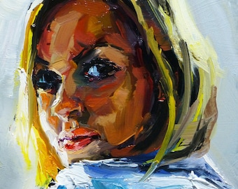 Original signed by Yuri Frey, oil painting, 6 x 6 in, model, daily painting No. 1080 of 01.09.2015