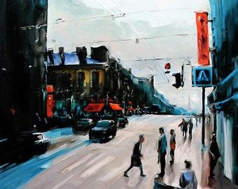 "Original by Yuri Frey ""Street of St. Petersburg"" oil on canvas. Picture No. 1539 of 08.10.2016 jurijfrey.blogspot.com"