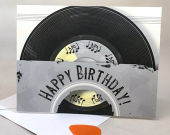 Vinyl Record Vintage Inspired Birthday Card - Retro Themed Album in Sleeve - Music Lover   BLANK INSIDE, Free SHIPPING