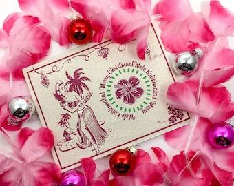 Hawaiian Holiday - Mele Kalikimaka, Tiki, Hula, 1940s 1950s, Vintage Inspired Christmas Holiday Card Box (10)