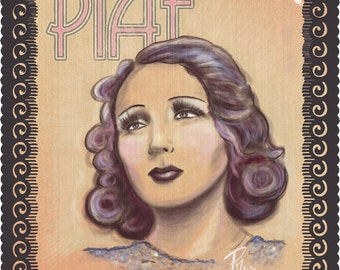 """ÉDITH PIAF - """"P is for PIAF"""" - 11x14"""" French Music, Cabaret, Torch Songs, Chanson, Musical Theatre  40s / 50s Archival Quality"""