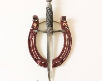 Steampunk Wall Art, Horseshoe and Dagger - Gothic, Medieval, Renaissance - Ceremonial, Fantasy, Cosplay - Home Decor Sculptural Art