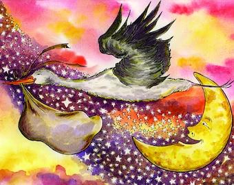 "Nursery Decor ""THE STORK"" 5x7"" Celestial, Fantasy, Stars, Baby, Baby Shower, Gender Neutral - Watercolor Print"