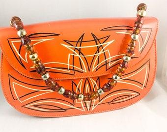 Orange Patent Leather Vintage Purse, Beaded Handle, 1950s Retro Purse
