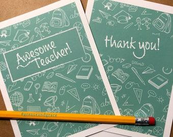 Teacher, Student, Thank You Note Card, School, Graduation, Education, BLANK INSIDE, Free SHIP