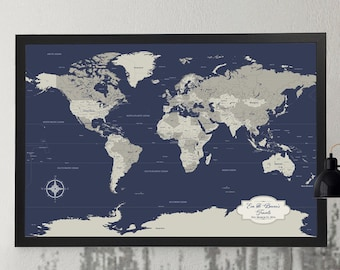 Cotton Anniversary Gift Men Navy World Travel Map [ Personalized Gift, Push Pin Our Journey Map ] JW Design Studio