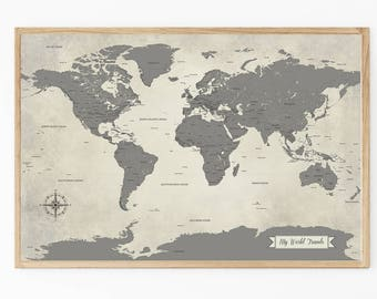 World travel map etsy more colors sale holiday gift grey map push pin world travel gumiabroncs Image collections