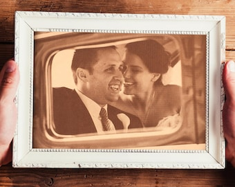 Leather Engraved Photo [ Leather Gift Idea, Anniversary gift for her or him, 3rd or 9th anniversary ] JW Design Studio