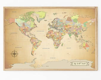 Personalized push pin world map paper anniversary gift world sale world map push pin world map map art print paper anniversary gumiabroncs Image collections