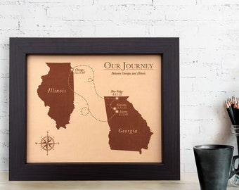 Our journey map leather  [ leather anniversary gift, love story map, 3rd anniversary gift, custom map art ] JW Design Studio