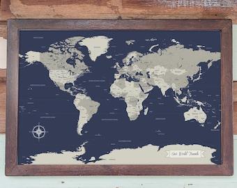 Large map etsy world map husband gift push pin world map map art print gumiabroncs Gallery
