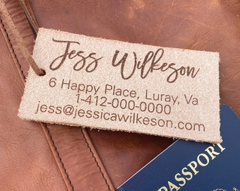 personalized leather luggage tag [ rustic leather travel accessories, christmas gift idea ] JW Design Studio