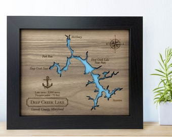5th Anniversary gift Laser Engraved Wood Lake Map [ ANY Lake map personalized ] JW Design Studio
