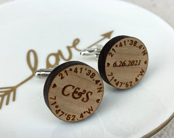 coordinates cuff links wood with stainless steel [ groom groomsmen gifts, personalized ] JW Design Studio