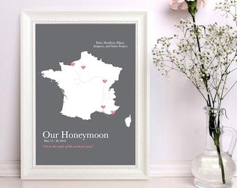 honeymoon map, itinerary travel map, keepsake map, personalized map art, anniversary gift