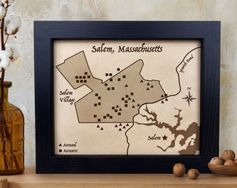 Salem MA Witch Trails Map [ Halloween Decor, witch art, leather map art ] JW Design Studio