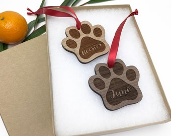 Paw print Christmas ornament [ personalized pet lover gift ] JW Design Studio