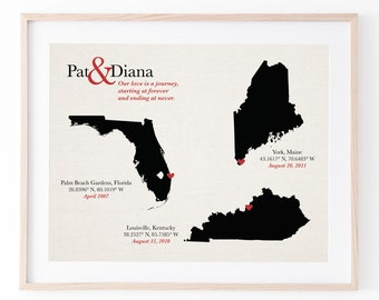cotton map keepsake print [ 2 or 3 states map, cotton 2nd anniversary gift, our love story ] JW Design Studio