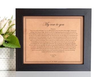 Wedding day gift for bride or groom [ wedding vows framed engraved, leather anniversary ] JW Design Studio